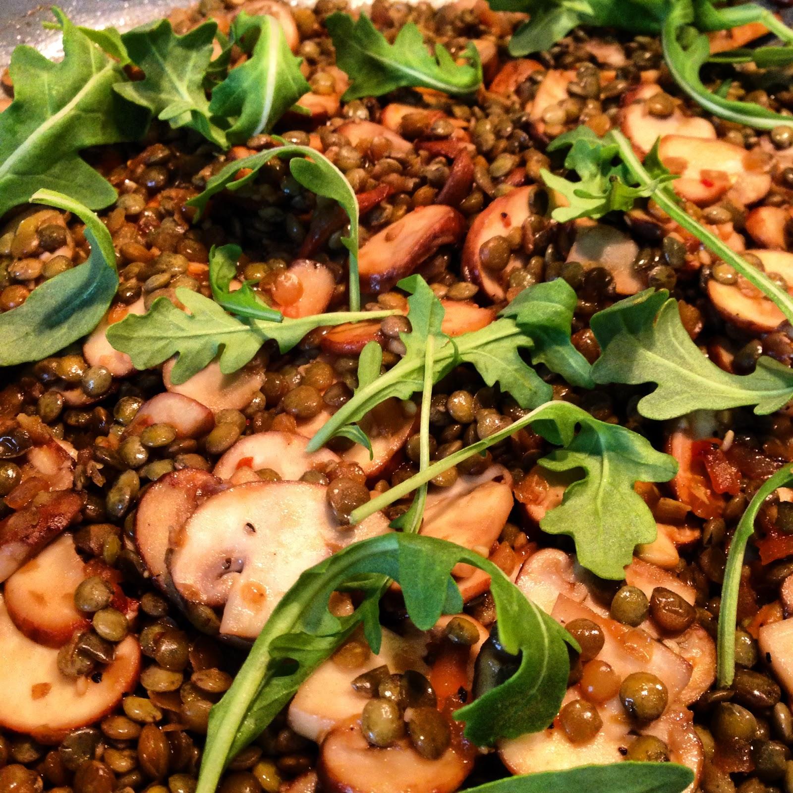 A Tasty Meal For My Vegetarian Followers…..Mushroom and Lentil Salad