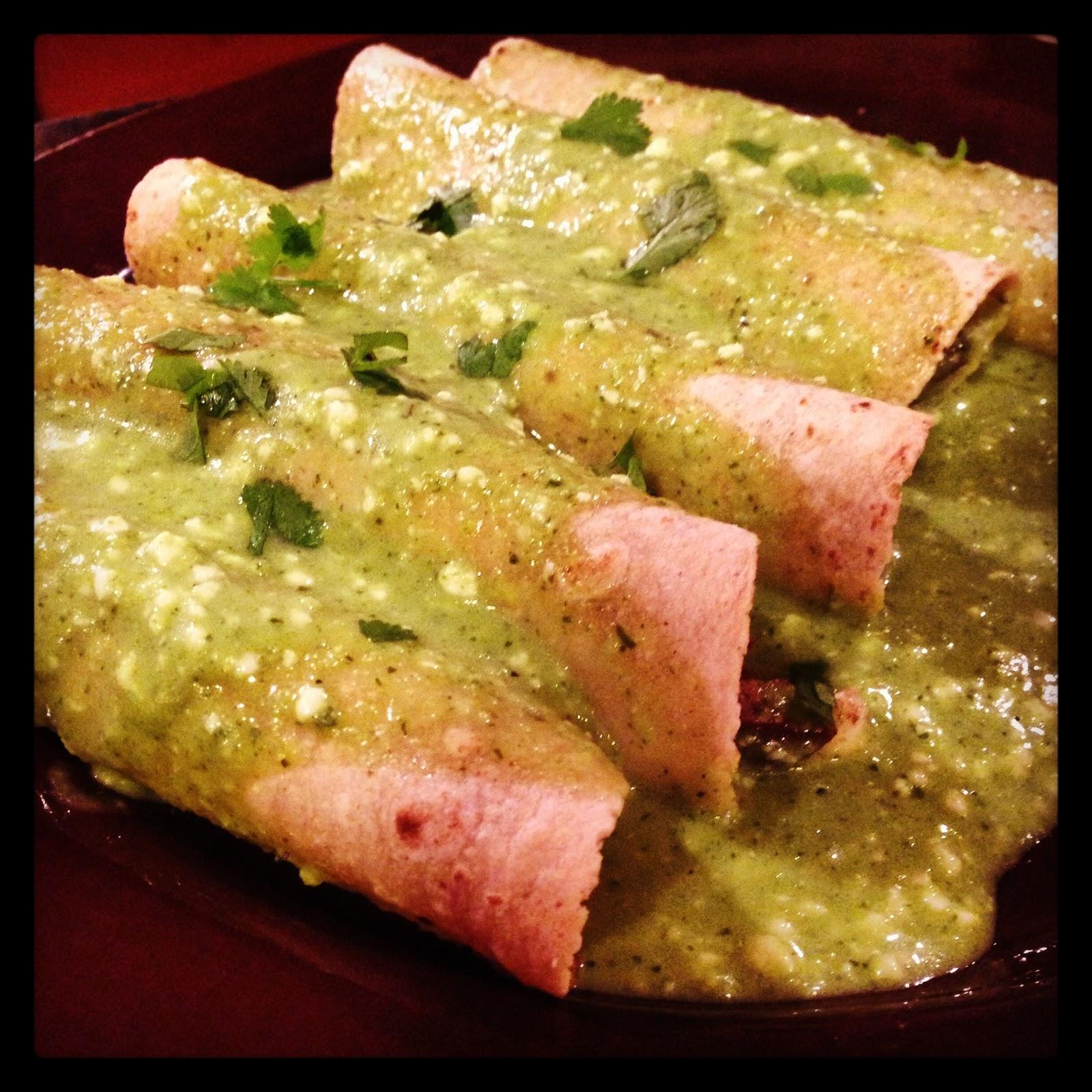 Poblano Cream Sauce Enchiladas