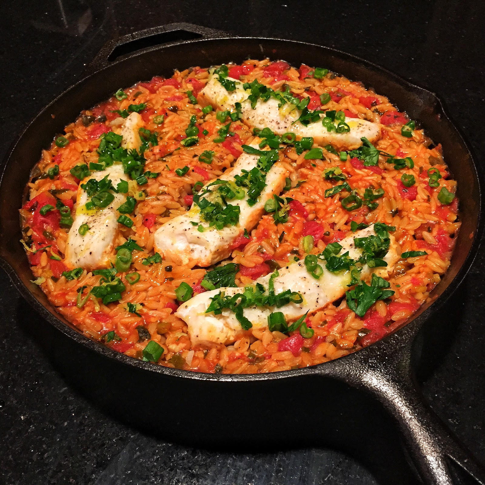 Skillet Orzo with Halibut…..A One Pot Wonder