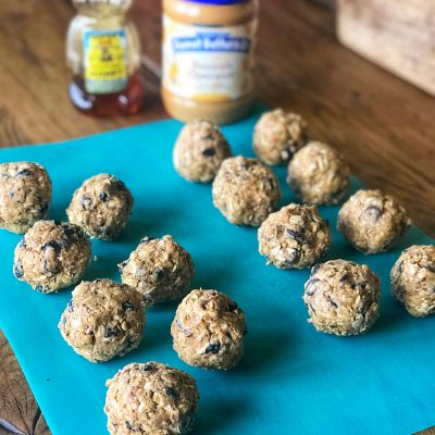 Peanut Butter Dark Chocolate & Peanut Butter Dried Blueberry Energy Balls!