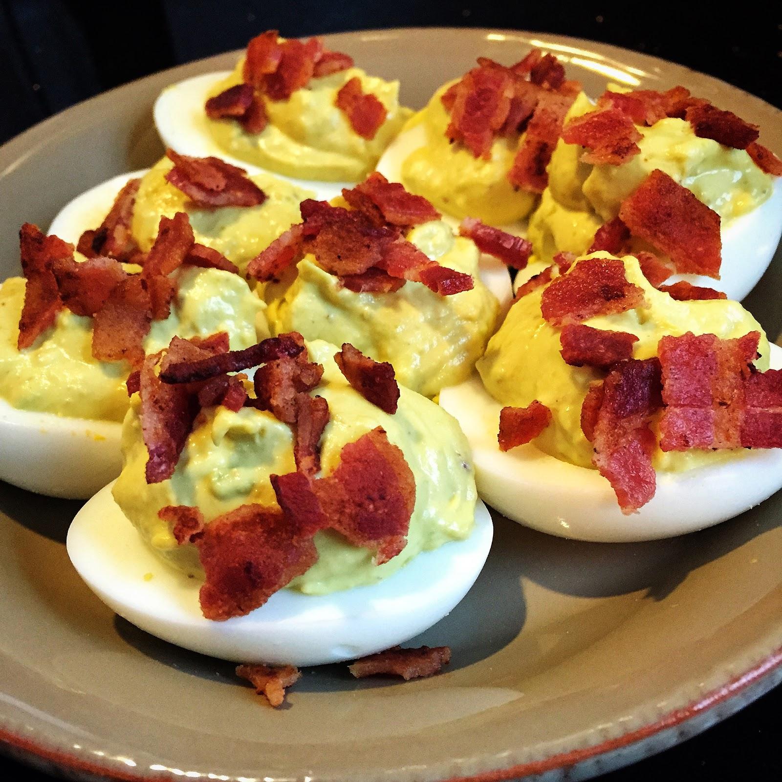 Bacon, Avacado Deviled Eggs…..A Slightly Healthier Option