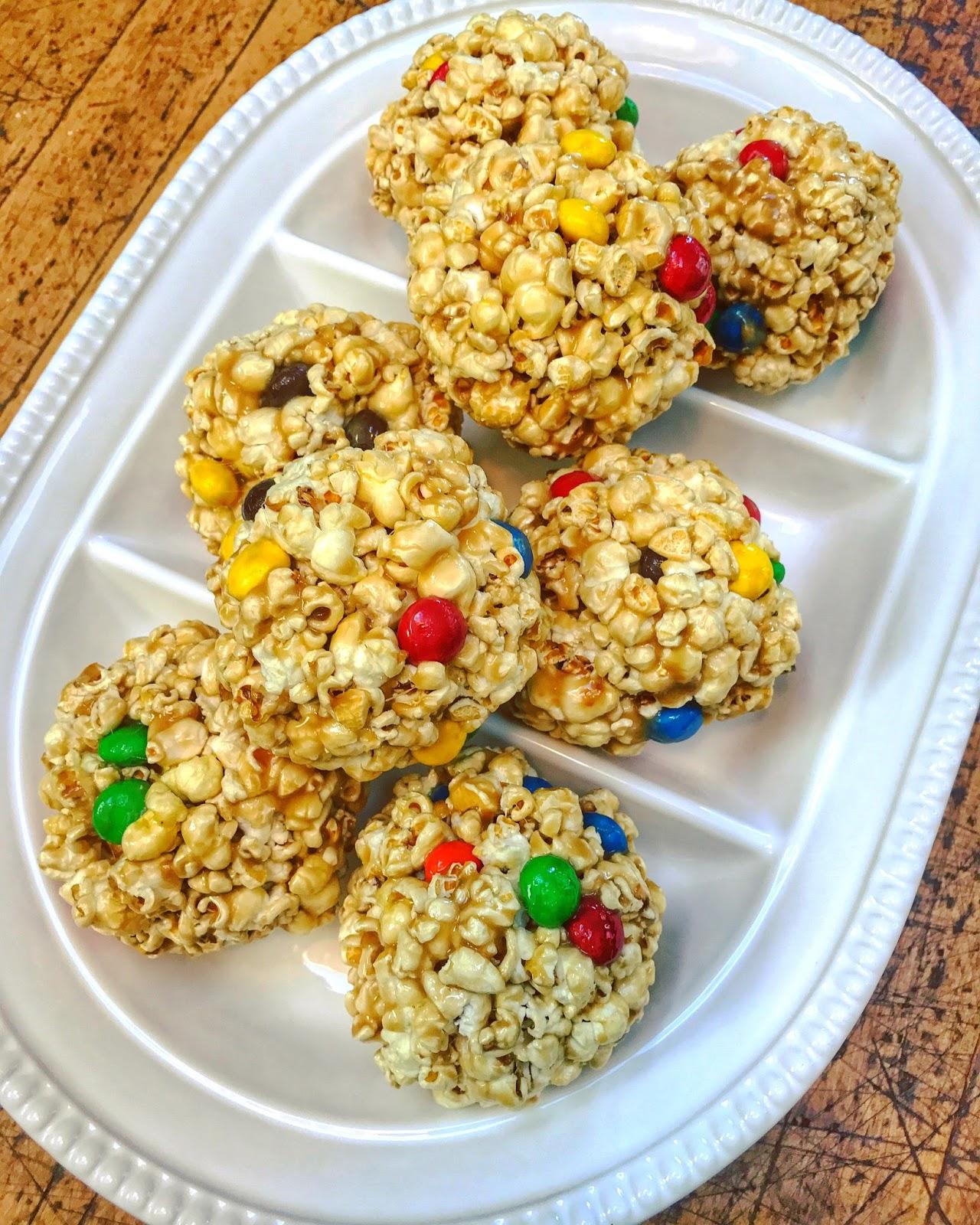 Halloween Treats…Popcorn Balls with Peanut Butter M&Ms